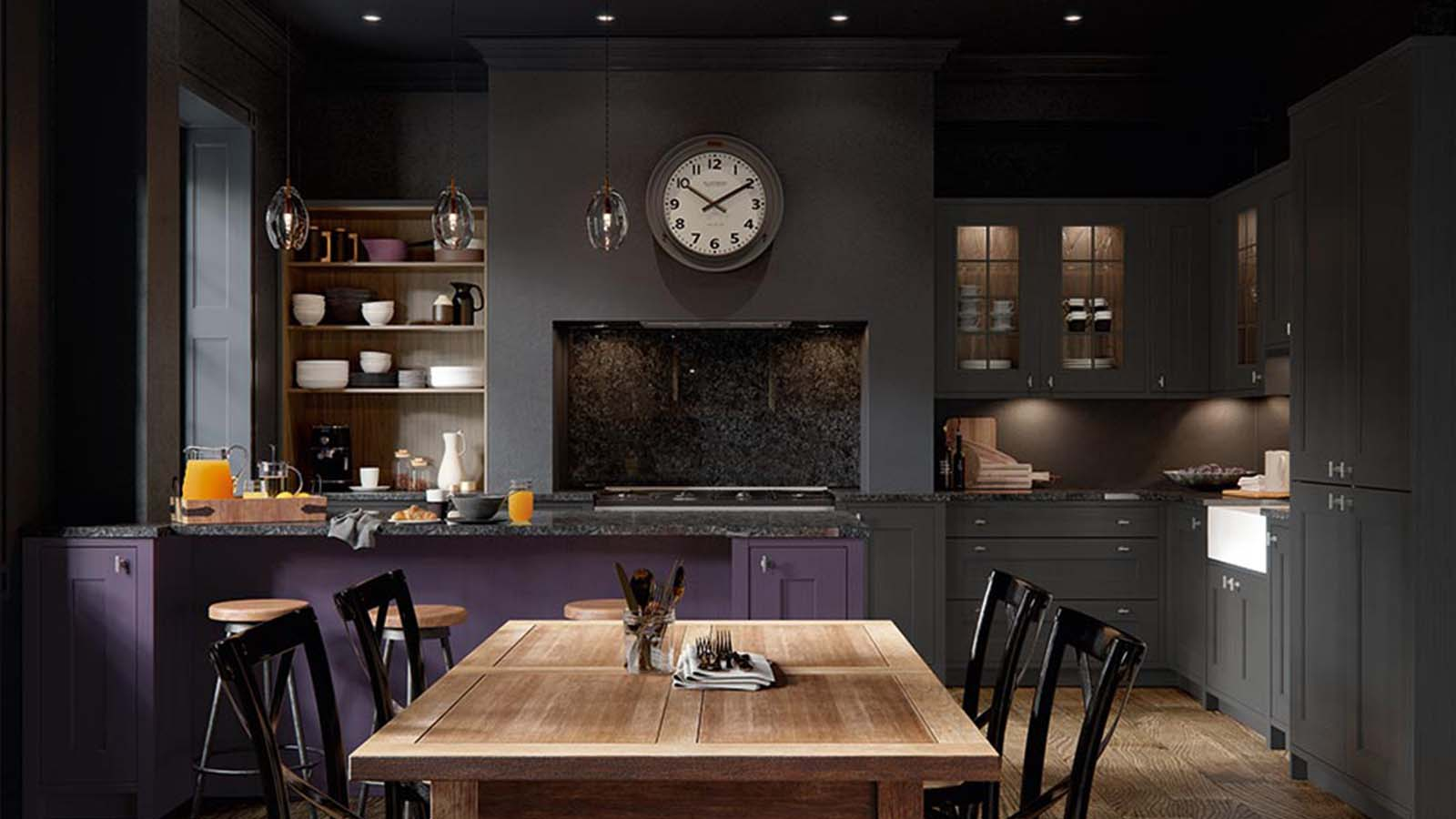 Ashbourne Mulberry with Graphite and Tuscan Walnut open shelving by Masterclass Kitchens