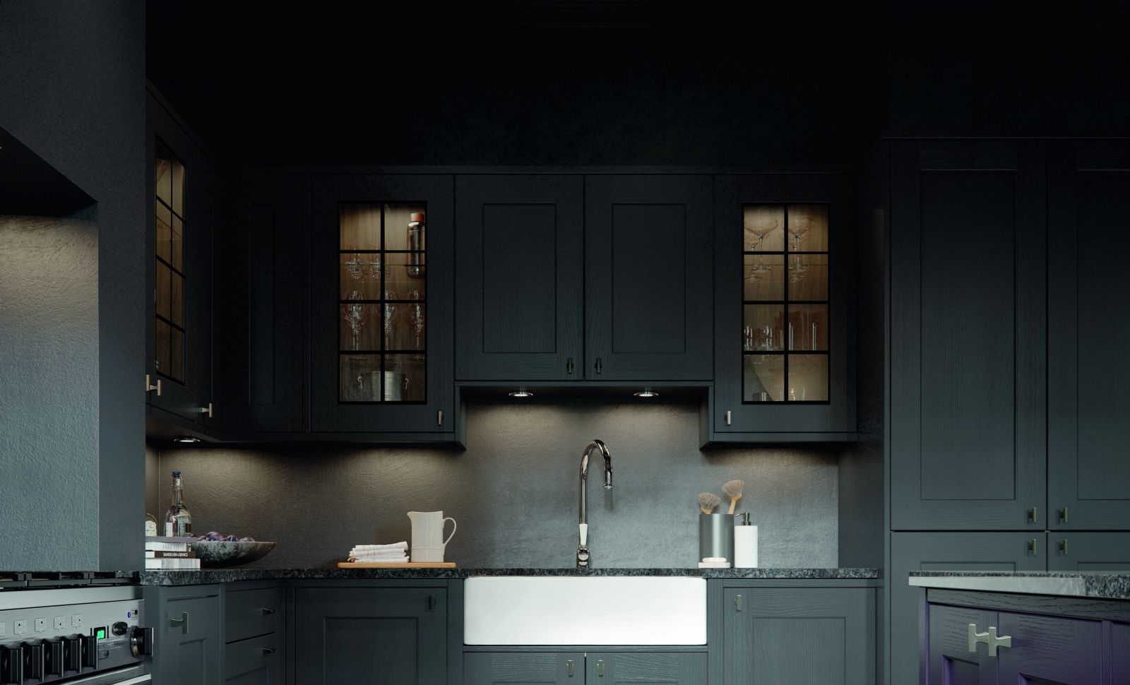 Asbourne by Masterclass Kitchens - Georgian Style Glass Cabinets in a Shaker Style Kitchen