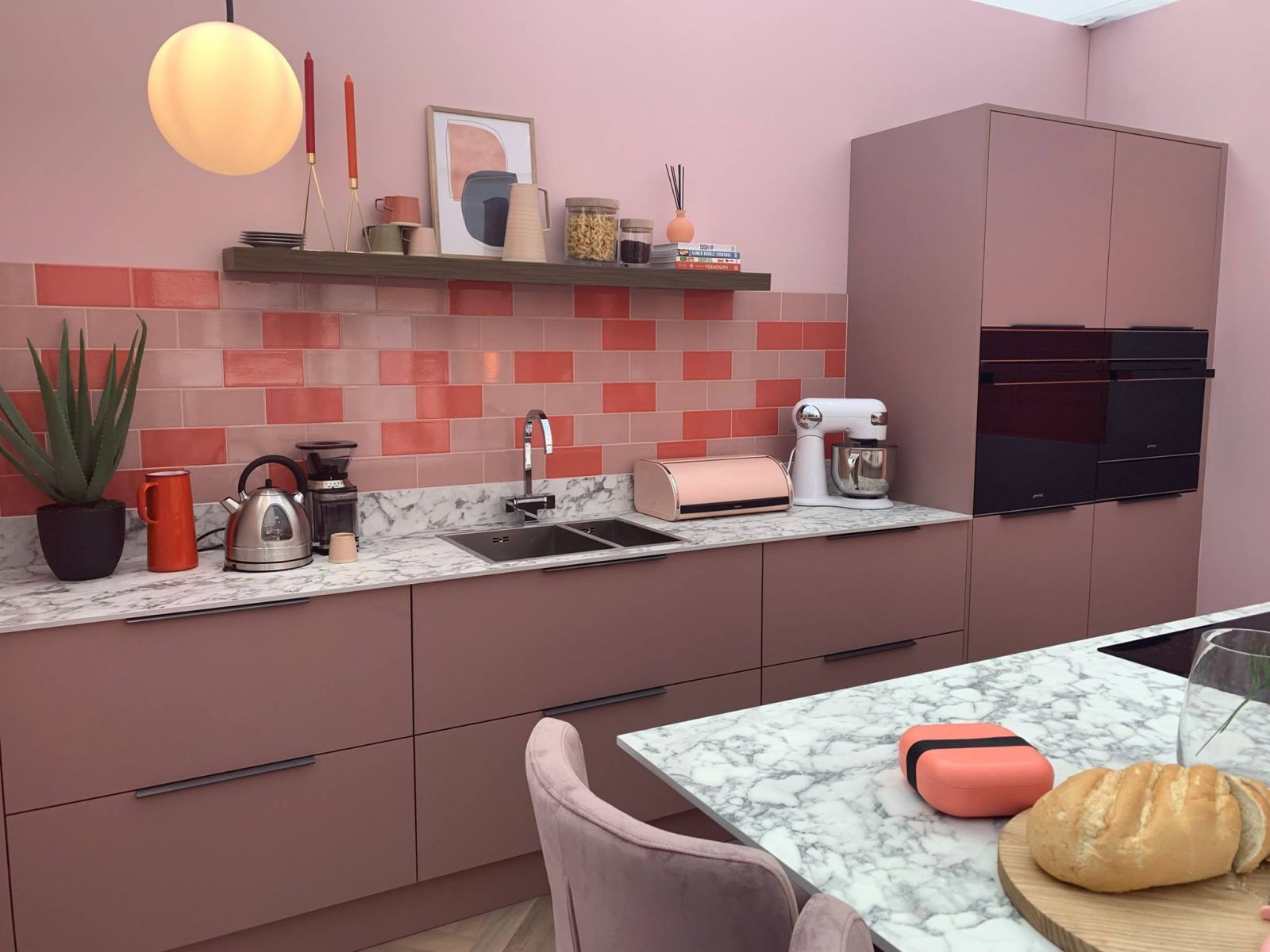 Masterclass Kitchens Ideal Home Show Modern Pink Kitchen Design with Marble Worktops