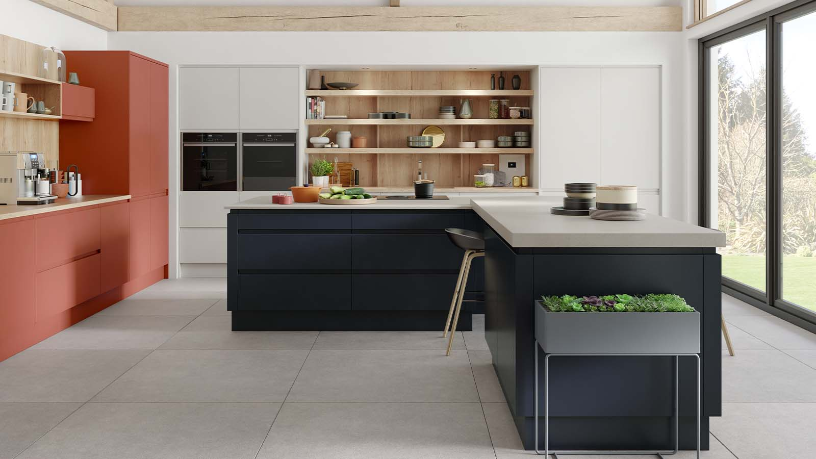 Roma Oxford Blue Kitchen with Terracotta Sunset and Scots Grey from Masterclass Kitchens