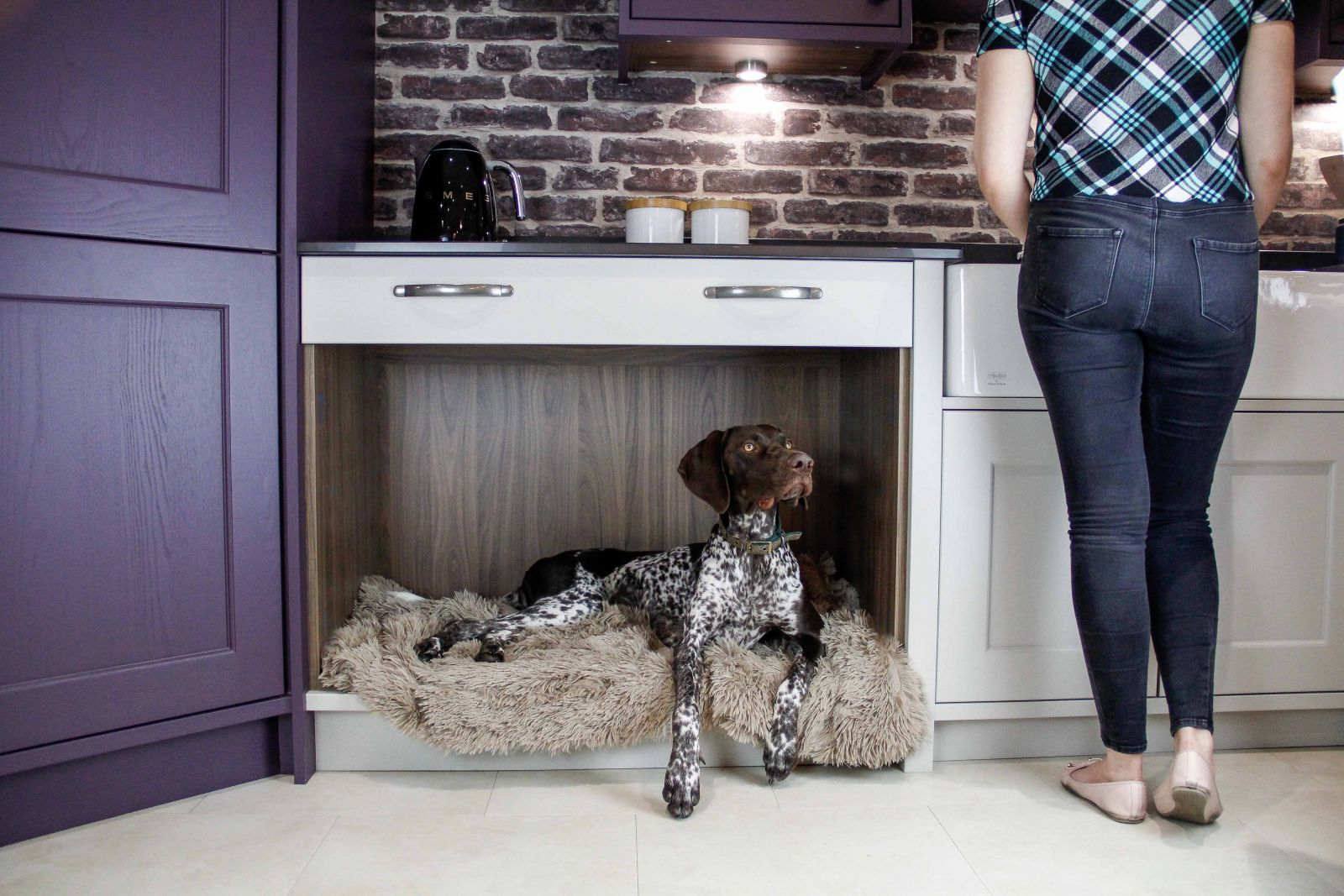 Masterclass Kitchens Dog Bed Area for Pet Friendly Kitchens, cats in kitchens and kitchens for dogs.