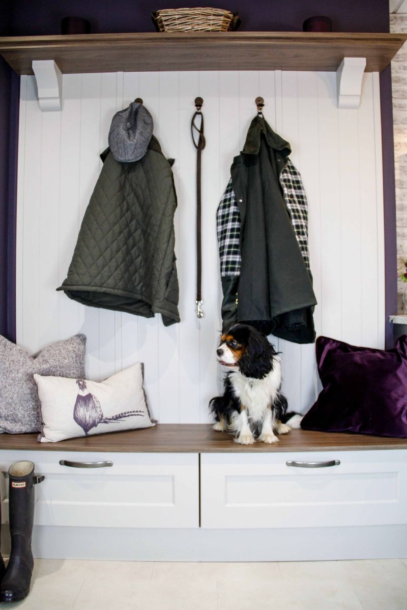 Masterclass Kitchens Boot Room or Mud Room for Pet Friendly Kitchens, cats in kitchens and kitchens for dogs.