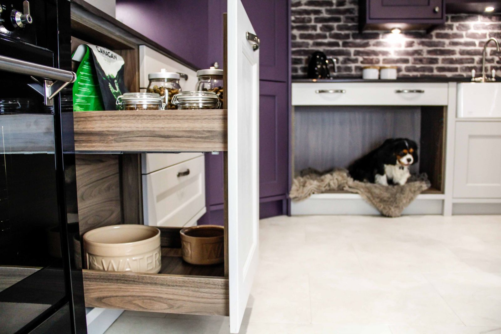 Masterclass Kitchens MagnaSpace Storage for Pet Friendly Kitchens, cats in kitchens and kitchens for dogs.