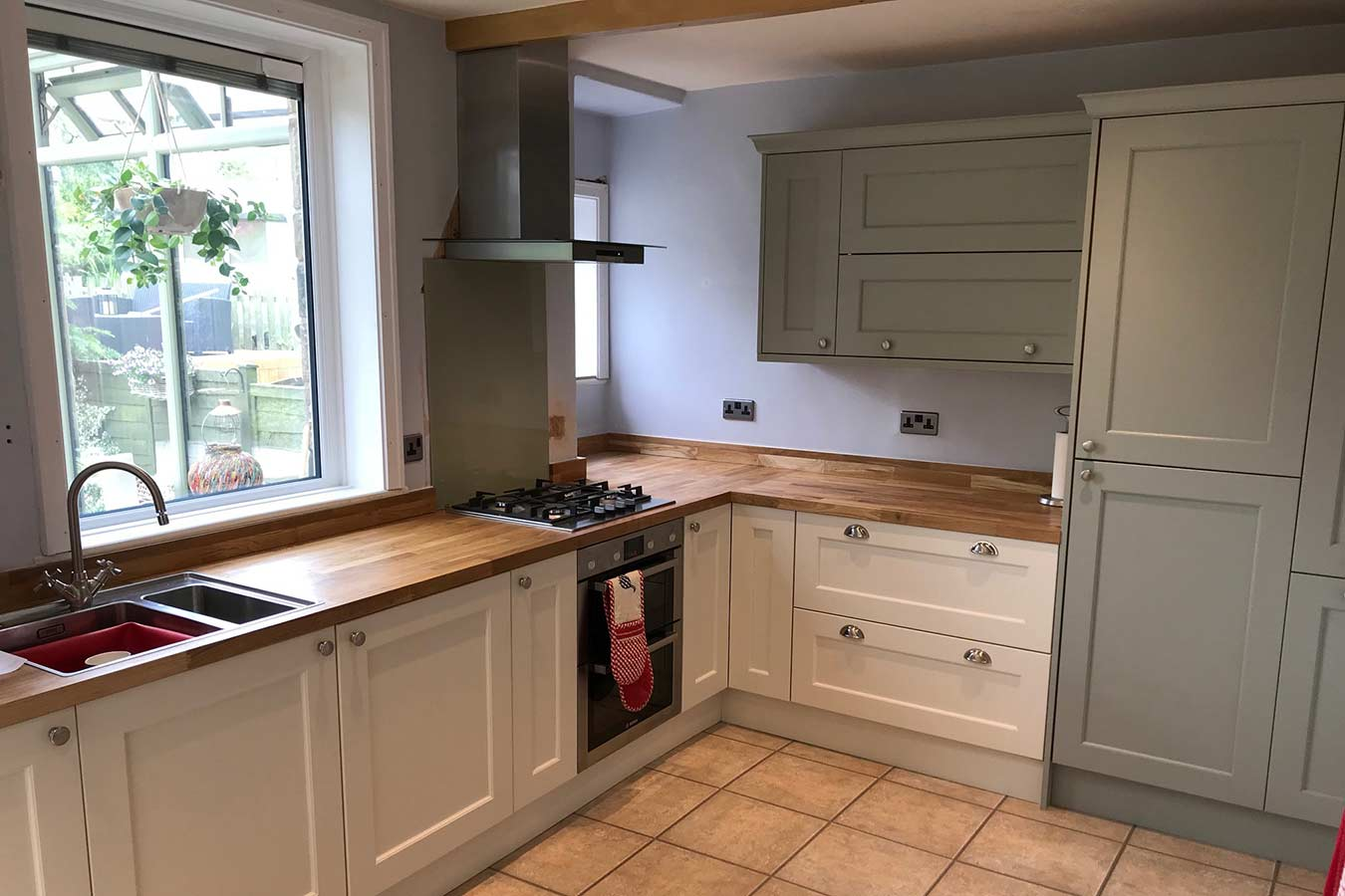Masterclass Kitchen Shaker Style in Ivory and Sage Green