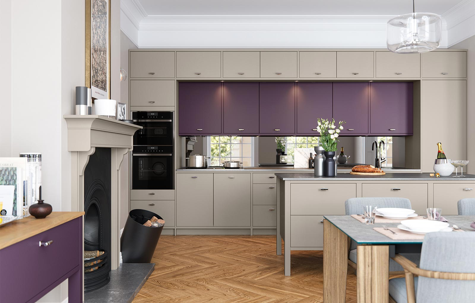 Modern purple and grey kitchen
