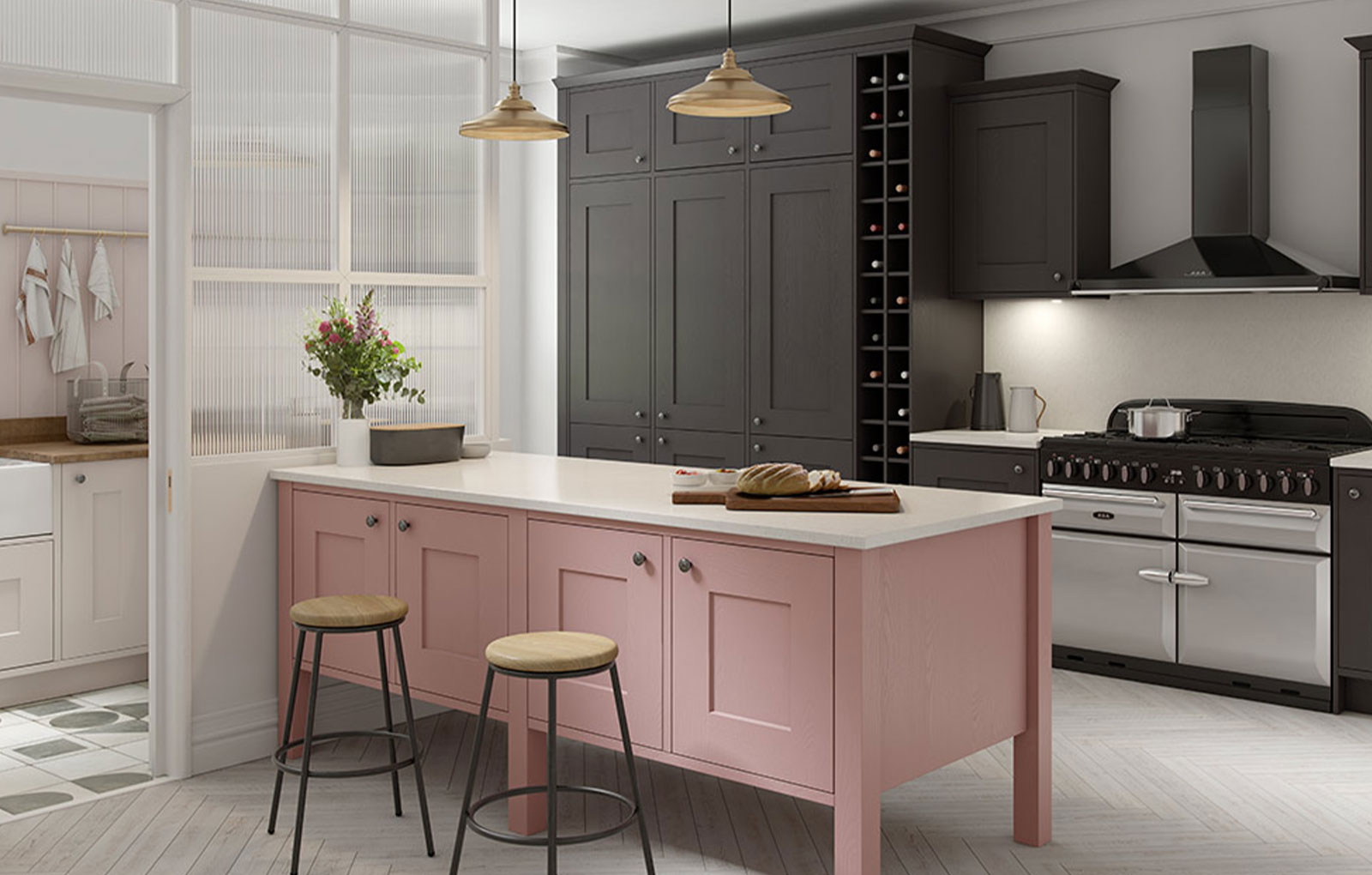 Classic shaker kitchen with dark kitchen cabinets and pink kitchen island