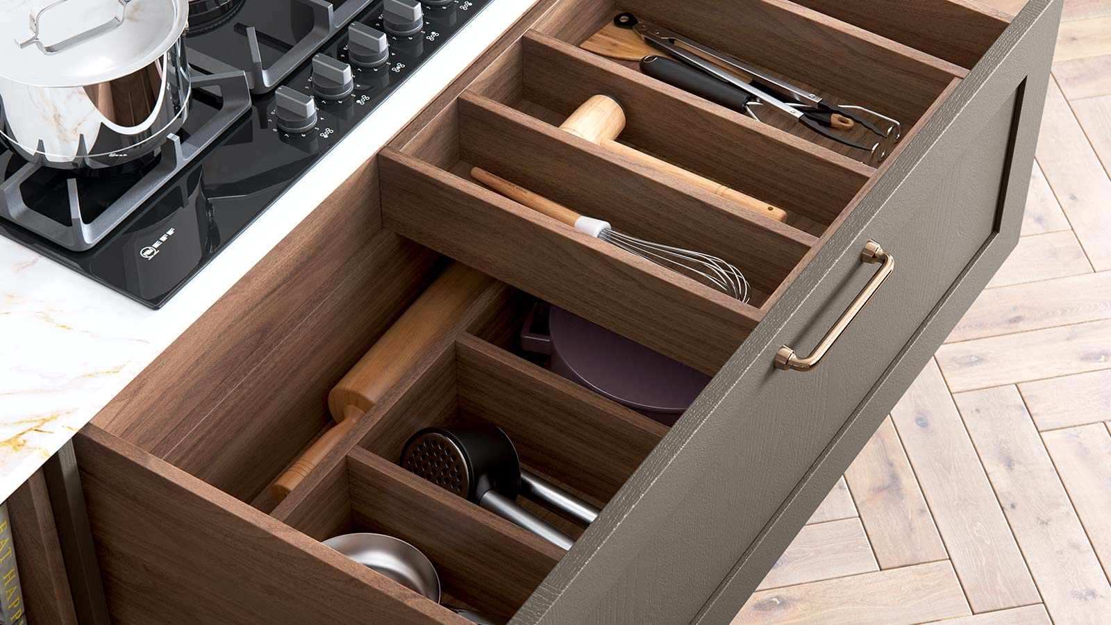 Classic kitchen cutlery drawer in Tuscan Walnut