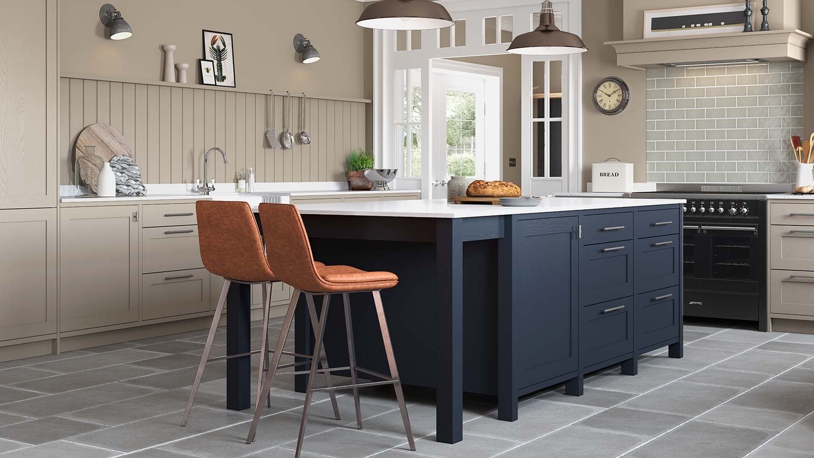 Classic warm grey kitchen with a blue island