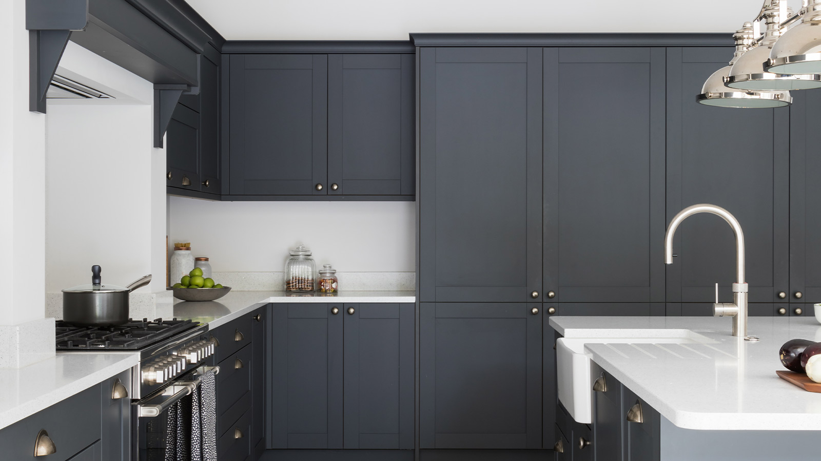 Grey kitchen cabinets in a classic shaker kitchen