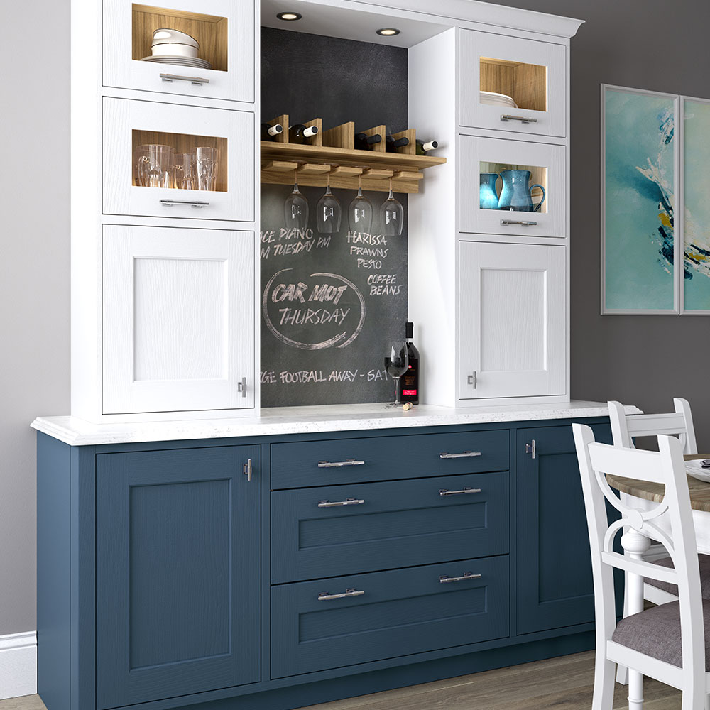 Ashbourne tall dresser in Windsor Blue and White.