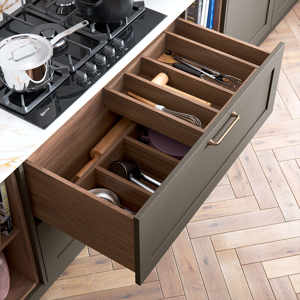 Wood effect combination utensil drawers.