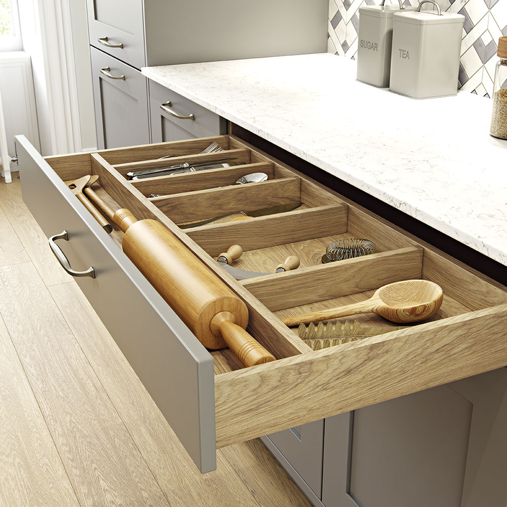 Masterclass Kitchens wood effect drawer options - ideas for modern kitchens