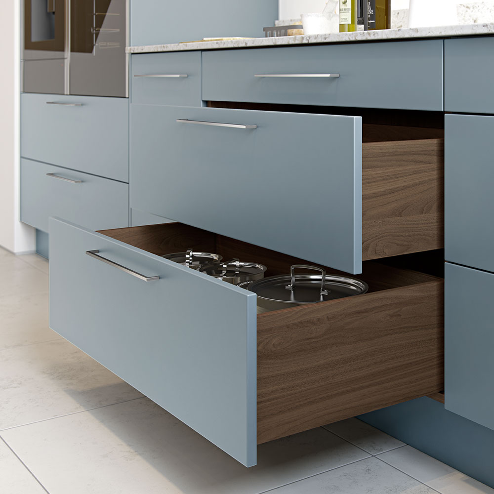Wood effect pan drawers in Tuscan Walnut - works perfectly with Coastal Mist.
