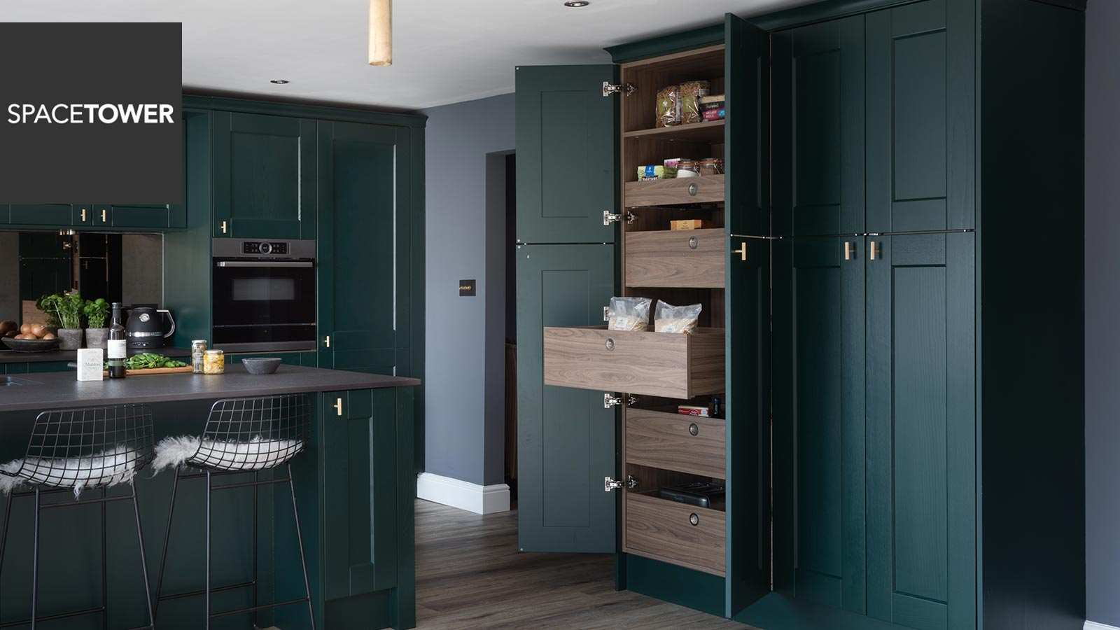 The SpaceTower pull out larder unit is perfect for keeping items within easy reach