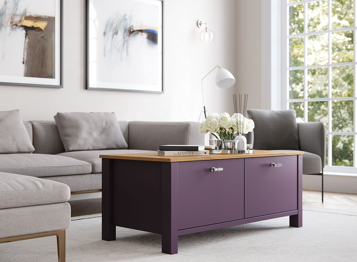 Hampton freestanding coffee table in Mulberry.