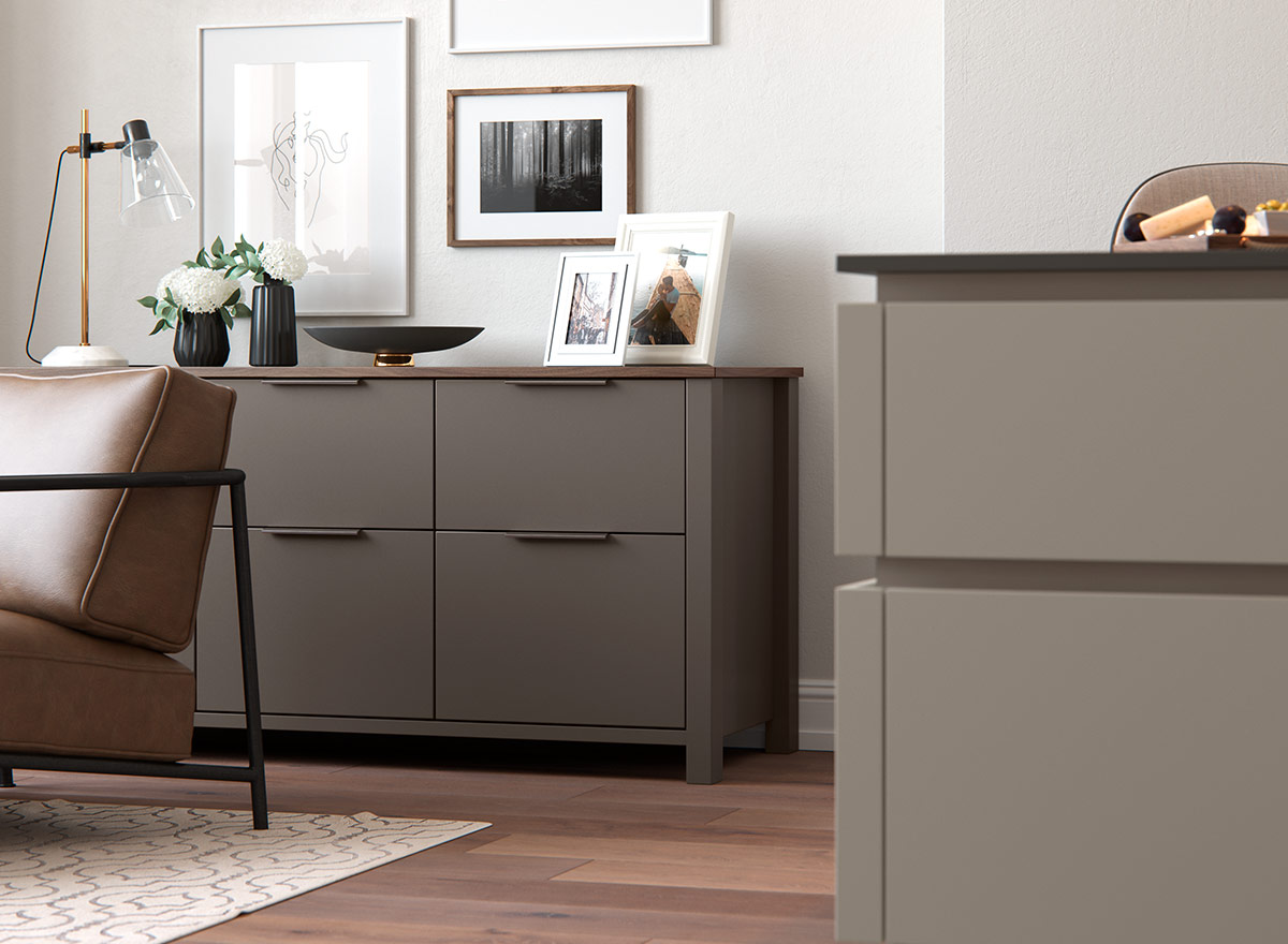Marlborough freestanding tall dresser in Lava.