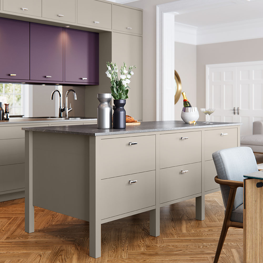 Hampton freestanding island in Farringdon Grey.