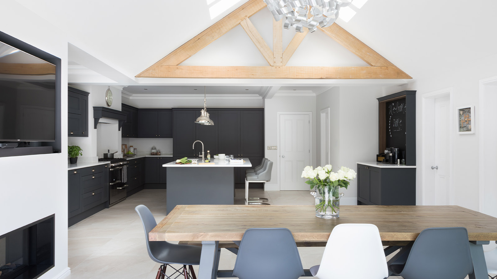 Classic grey shaker kitchen with a grey kitchen island