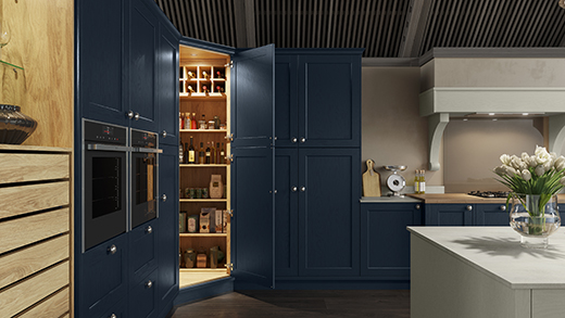 L shaped kitchen storage