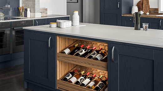 Kitchen island storage - wine drawers