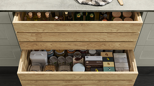 Kitchen island storage - crate drawers