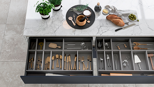 Kitchen island storage - wide drawers