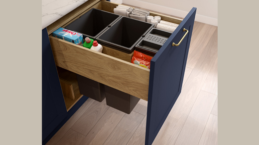 Small kitchen storage - integrated bin