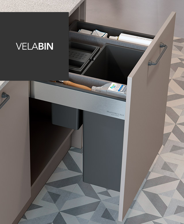 Masterclass Kitchens The Velabin waste disposal - clever kitchen storage solutions