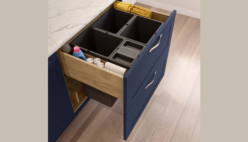 An integrated waste bin in a classic kitchen