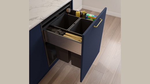 A modern integrated kitchen bin
