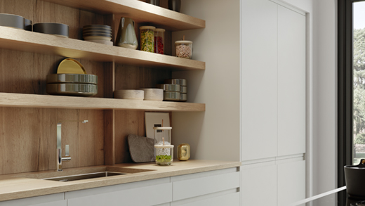 Modern kitchen open shelving