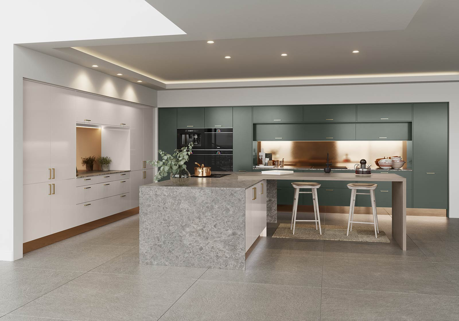 Green and copper modern kitchen