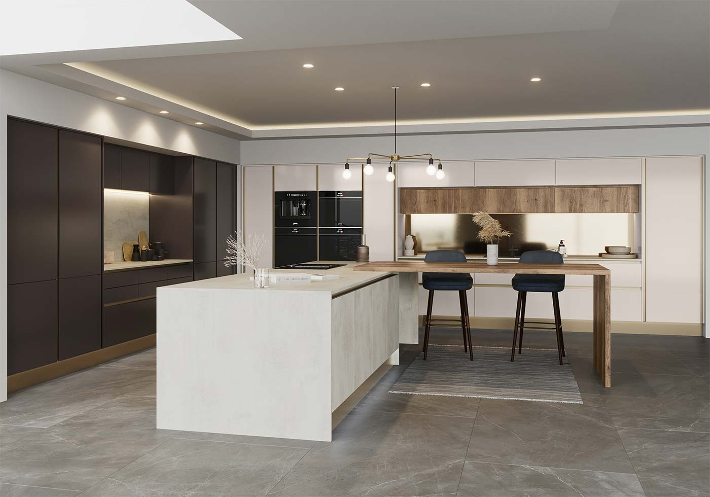 ultra modern handleless kitchen