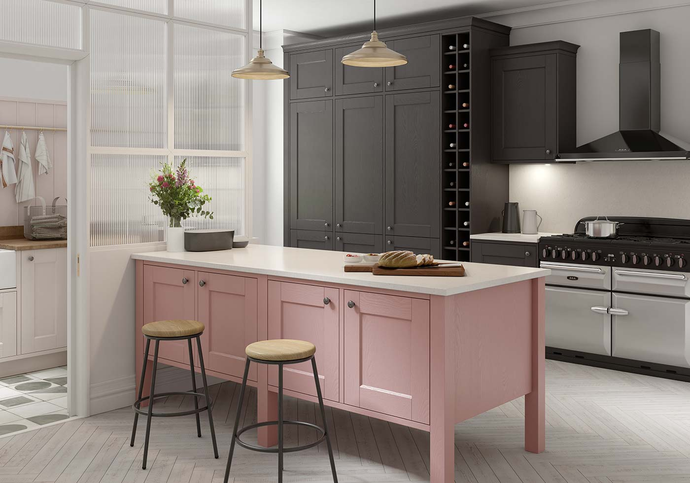 Classic pink kitchen