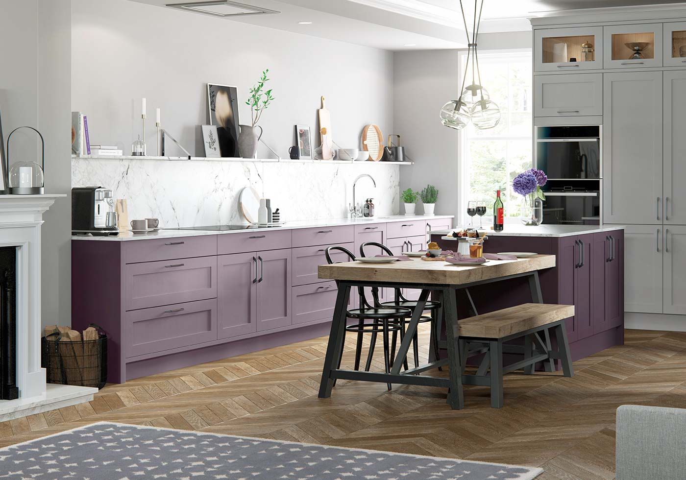 Classic purple kitchen
