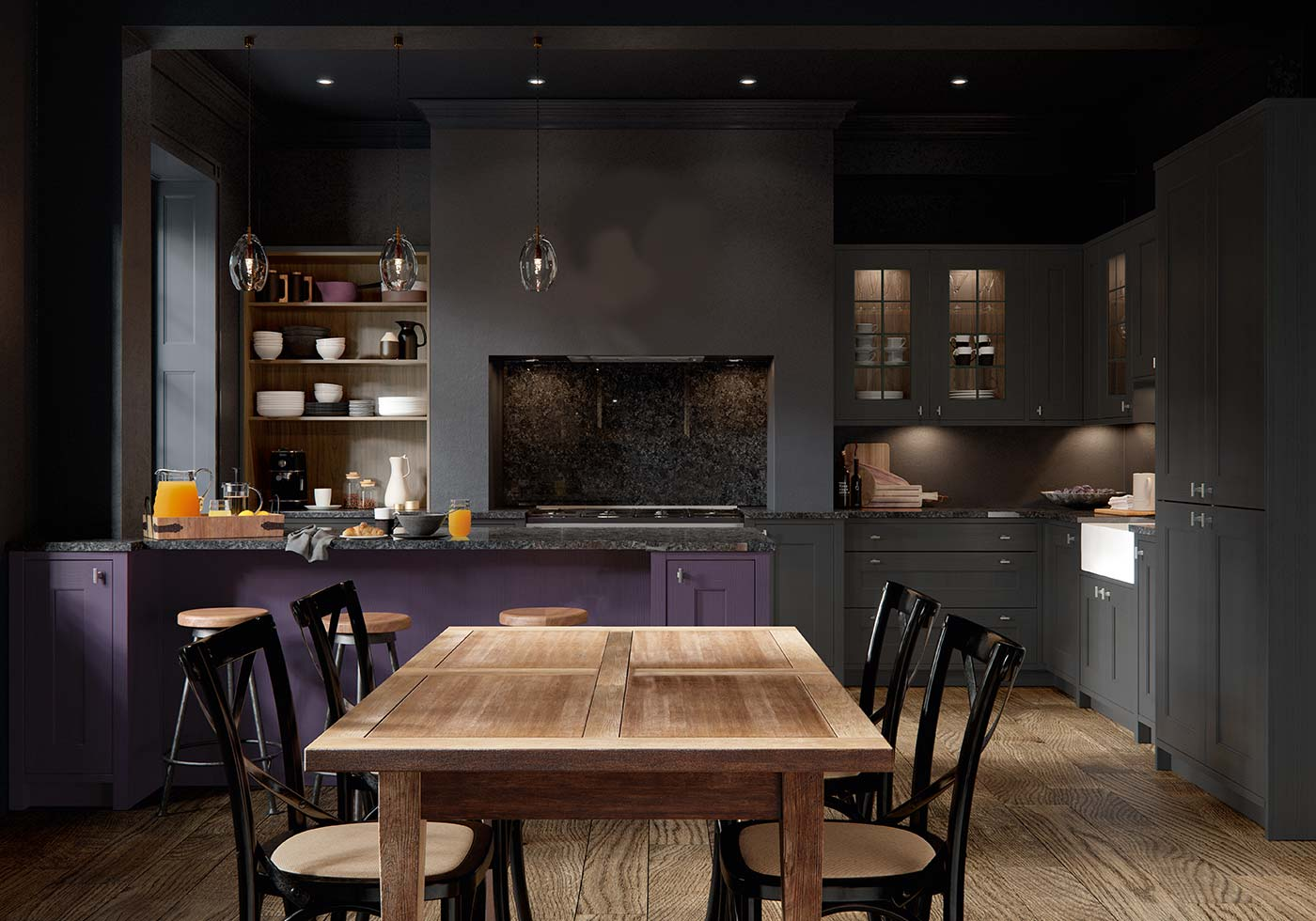 Dark purple kitchen