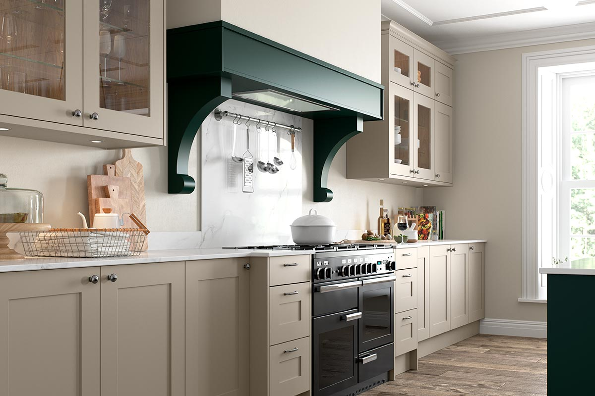 Masterclass Kitchens Marlborough in Hunter Green Mantle and Corbels for a shaker style kitchen