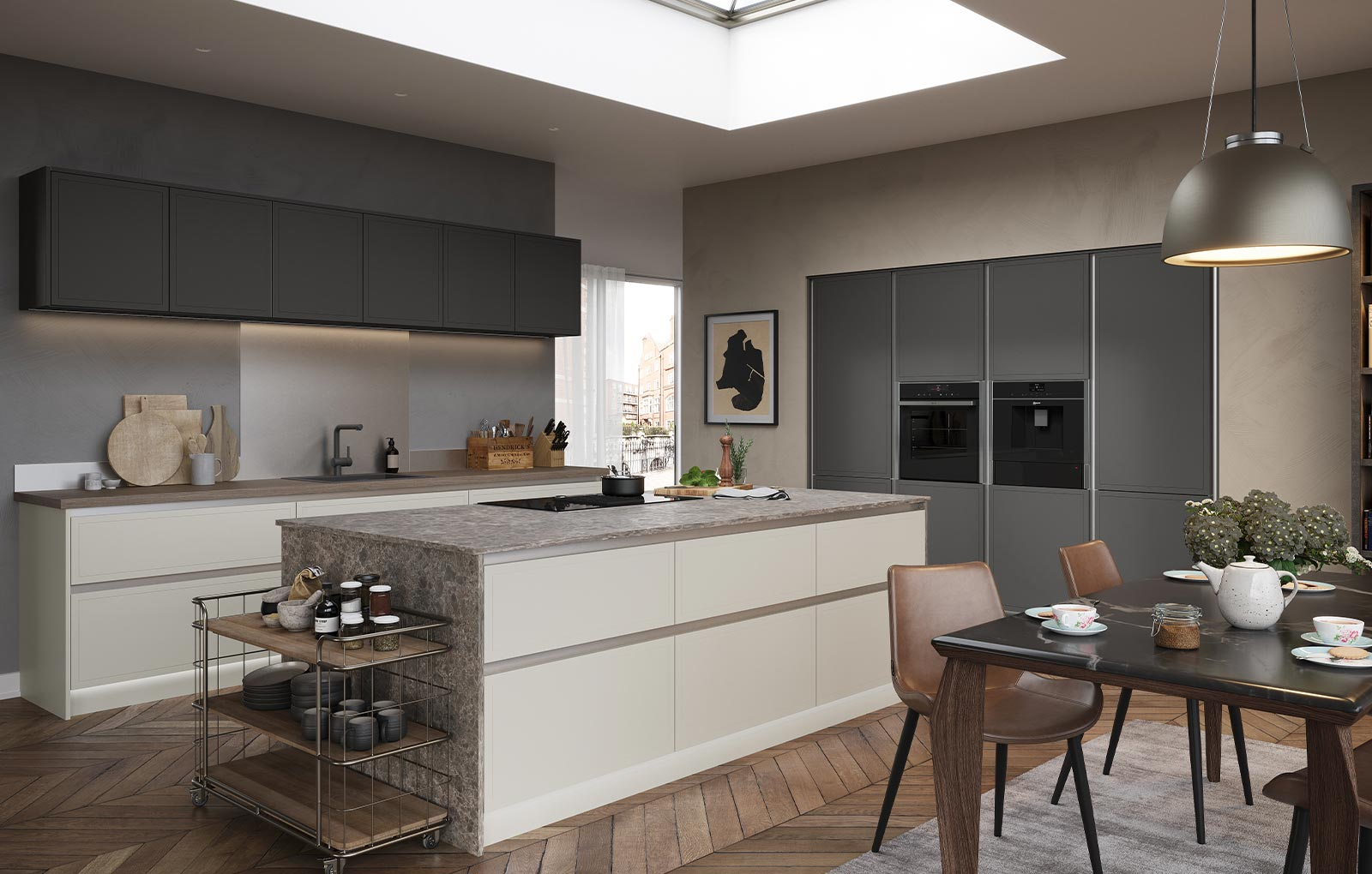 Modern handleless kitchen with subtle traditional features
