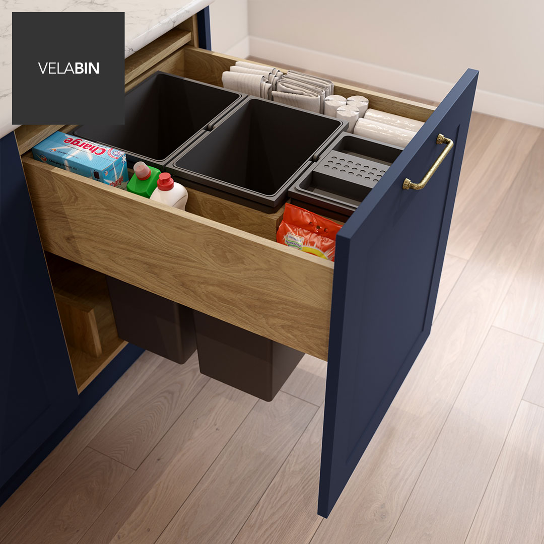 Velabin integrated kitchen bin in Portland Oak