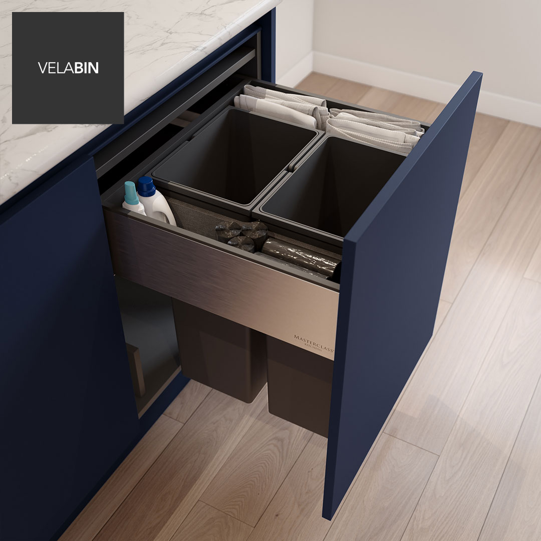 Velabin integrated kitchen bin in Anthracite Linen
