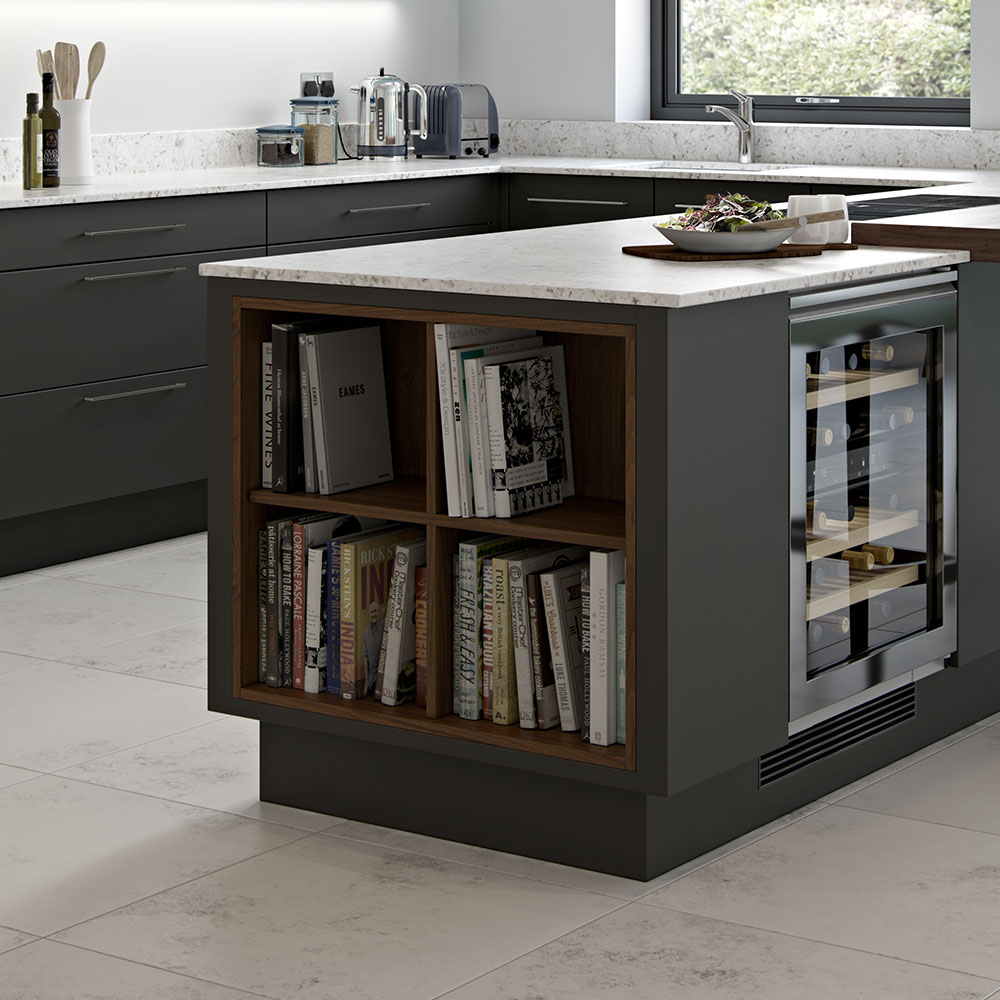 Kitchen island with open shelving.