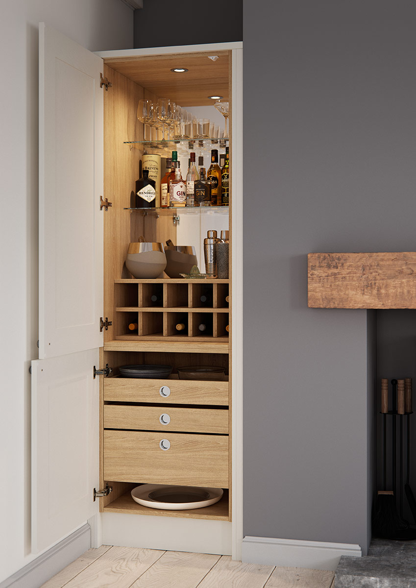 The Connery Cocktail Cabinet in Anthracite Linen