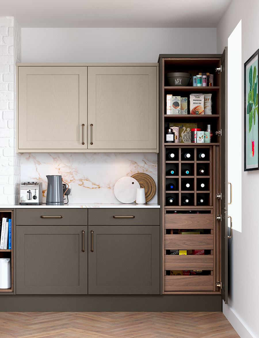 The Hathaway Kitchen Pantry in Tuscan Walnut