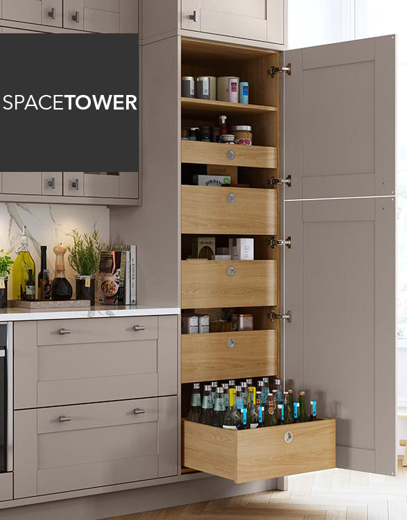 Masterclass Kitchens SpaceTower integrated drawers for ultra-modern kithchen designs
