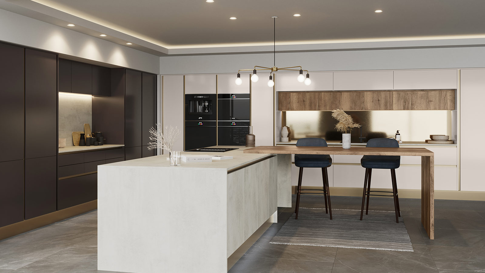 Modern kitchen with metallic accents and wood features
