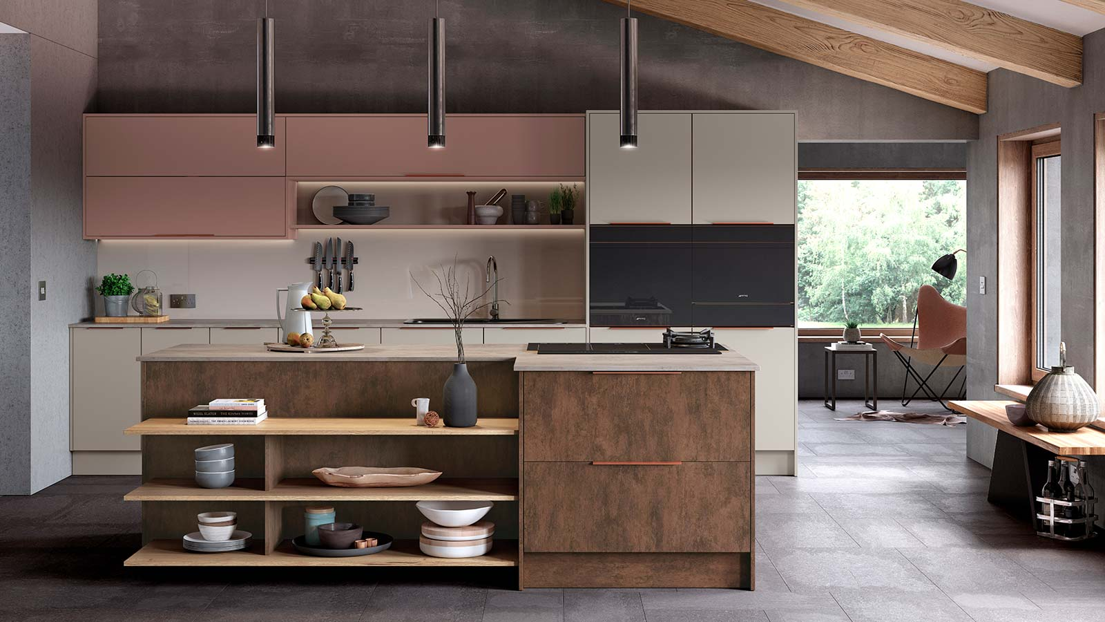 Modern mix and match kitchen with warm colours